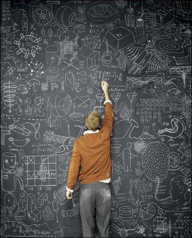 Ideas image - man in front of chalk board