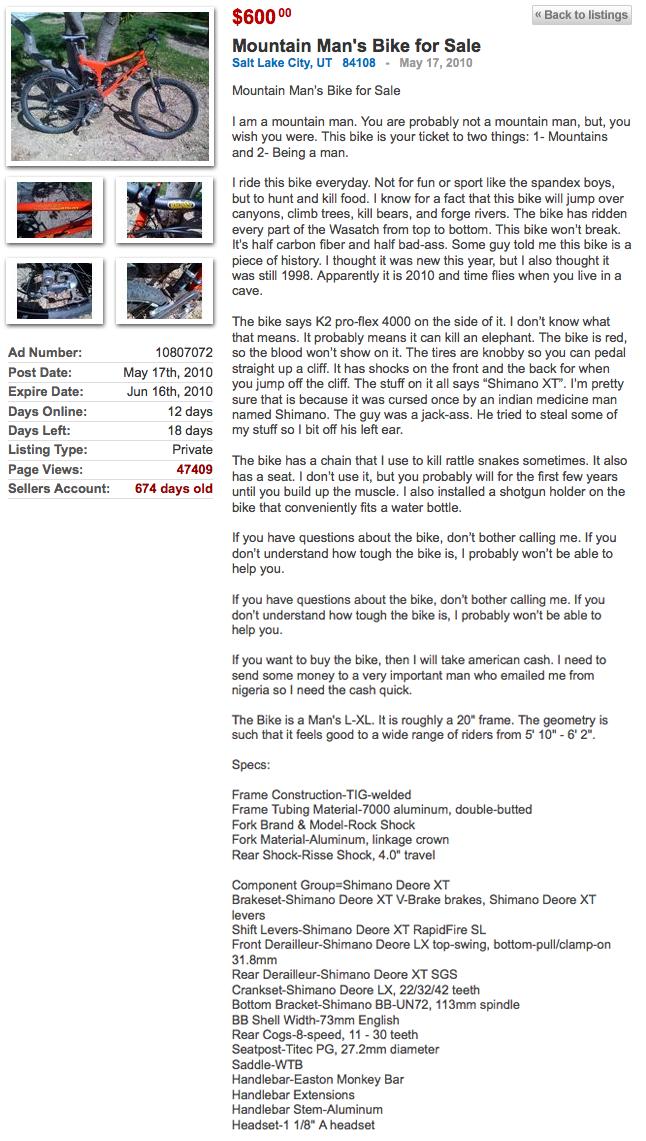 KSL mountain bike ad: Great copy