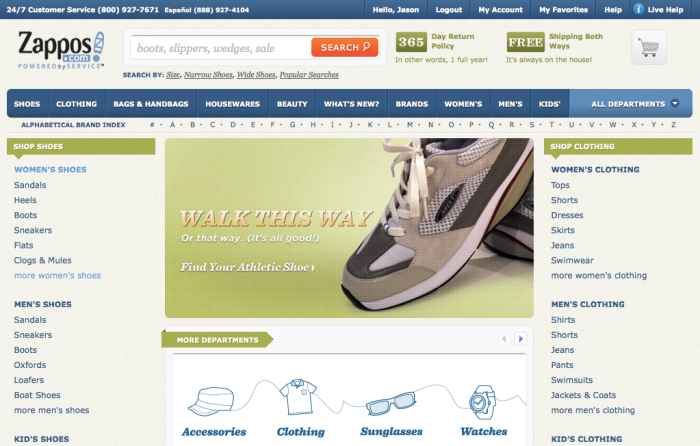 Image of the Zappos homepage